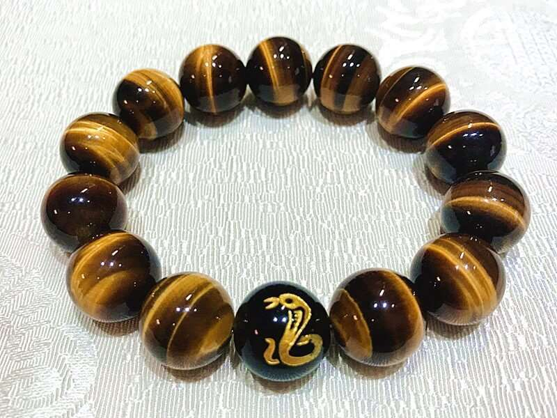 0000581 Top 7a Tigers Eye Natural Stone Chinese Zodiac Charm Bracelet For Good Luck And Fortune For Man